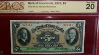 1935 $5 BANK OF NOVA SCOTIA  CANADA  CHARTERED BANKNOTE