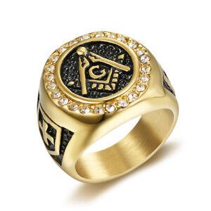 Masonic Ring Freemason Men's Stainless Steel Crystal Gold Mason G Pillar Cross
