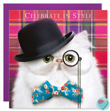 Funny Cat Birthday Card Friend Men Lady Him Her to or from Persian Cat Lover
