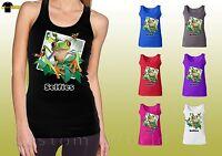 Funny Selfie Design Shirt Frog Face Selfies Graphic Ladies Tank Top (21053hd4)
