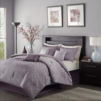 Beautiful Purple Grey Blue Jacquard Sequins  Comforter 7 pcs Set Cal King Queen