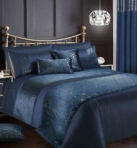Luxury Navy Velvet Sparkle Foil Embossed Duvet Quilt Cover Bling Bedding Set