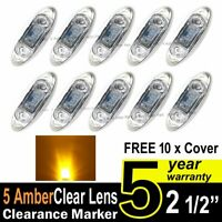 10X Clear Amber Truck Trailer Side Marker Clearance Light Oval Chrome 3 LED 12V