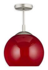 MODERN BALL SEMI FLUSH CEILING LIGHT RED 25cm - SILVER SATIN AND GLASS FINISH