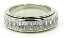 "AUTHENTIC MEDITATION SPINNER RING ""CLARITY"" 925 SILVER AND BAGUETTE C.Z."