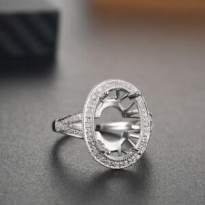 Oval 15x10mm 14K White Gold Fine Jewelry Semi Mount Ring SI-SI3 Diamonds
