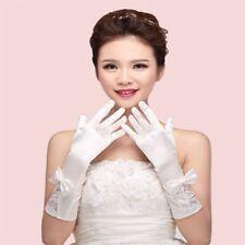 Glove Embroidery Wedding Dress Silk Satin Lace Bow Bride Glove Long Glove