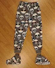 NEW Boys Fleece Lounge Pants Medium 8 - 10 Gray Skulls with Sunglasses Pajama PJ