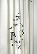 "Shower Curtain - ""La Maison Paris"" - Printed Design on Off-White Fabric Curtain"
