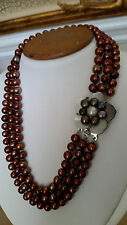 "Artisan CraftedTriple Strand Rustic Bronzy Freshwater Pearl Necklace 17"" Long"