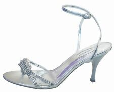 Wedding Party Heeled Evening Shoes Sandals Diamante Silver NEW