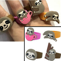 SLOTH CUTE TOY RINGS GIRLS GIFT SILICON FAVORS PRIZES BIRTHDAY PARTY BAG FILLERS