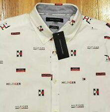 NWT Tommy Hilfiger Men's Allover Logo Slim Fit Button Down Shirt Size 2XL $70