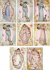 Vintage Jane Austen pink blue gowns note cards tags set of 8 with envelopes