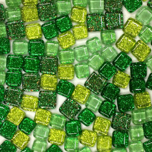 120g Square Triangle Tiles Mosaic Glass Pieces Mixed Colored Glitter DIY Craft