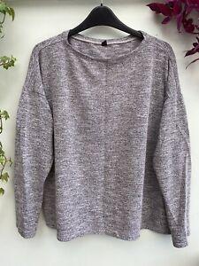 Large UNIQLO Women's Oversized Light Jersey Sweatshirt Jumper Triblend Grey