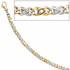 NEU 5 mm Diamanten Armband 585er echt Gold Armkette 14 Karat 18 cm bicolor 0,32