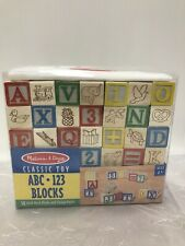 Melissa & Doug Classic Color ABC 123 Solid Wood 50 Blocks w/ Storage Pouch NEW