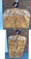 Vintage American Tourister Garment Suit Bag Faux Leather Brown Hangers Cover VTG