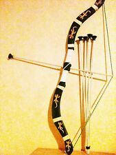 Arc en bois +5 fleches  taille 75 cm (jeux jouet enfant) (artisan createur)