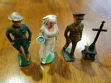 rare World War 1 cast iron nurse/medic figurines lot male and female