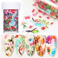 Flowers Bird Leaves Nail Foils Nail Art Transfer Stickers Paper Decal Sheet DIY