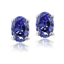 Sterling Silver 1.9ct Tanzanite 7x5 Oval Stud Earrings