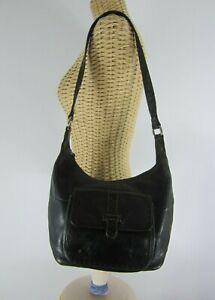 Fossil Black Leather Shoulder Bag Satchel Hand Stitching Brass Hardware
