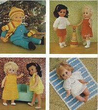 """Baby Doll Crochet Patterns Dress, Skirt, Jumper, Blanket, four sets 12-20"""" 729"""
