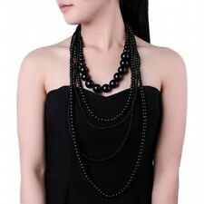 Fashion Collar Jewelry Black Pearl Chain Statement Pendant Bib Long Necklace