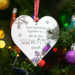 First Christmas Personalised Tree Decoration. 1st Xmas Heart Bauble Gift, Mirror