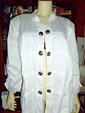 NEW Roz & Ali White Military Light Jacket Sz 3x Woman Cotton & Lined Open Front
