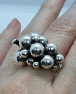 Georg Jensen Sterling Silver Large Grape Ring Denmark