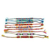 6pcs/ set Macrame Knotted Candy Color Wide Hand Woven Friendship Bracelets