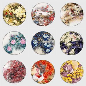 Round Flowers Birds Non-slip Livingroom Kitchen Bathroom Floor Mat Rug Carpet