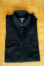 Herren Hemd Lang-Arm Größe S 37/38 Schwarz 100 % Baumwolle