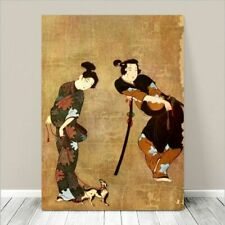 """Beautiful Vintage Japanese Art ~ CANVAS PRINT 8x10"""" ~ Couple with Dog"""