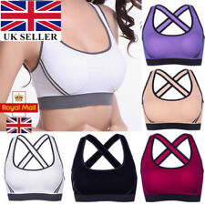 UK Womens Yoga Sports Running Bra Crop Top Vest Stretch Bras Shaper Padded New