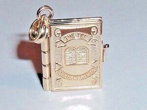 14K YELLOW GOLD TEN COMMANDMENTS BIBLE BOOK CHARM PENDANT