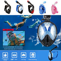Full Face Snorkel Mask 180° View Scuba Snorkeling Diving Adults and Kids XS - XL