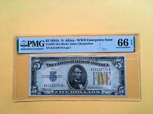 Silver Certificate $5 !934A N. Africa WWII Emergency Issue