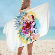 Indian Floral White Skull Girly Travel Holiday Beach Bath Summer Towel