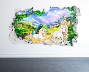 UNICORN WALL STICKER 3D LOOK - BOYS GIRLS BEDROOM ENCHANTED WALL DECAL Z1022