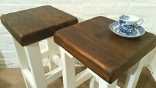 A Pair (x2) Hand Painted F&B White Reclaimed Solid Wood Kitchen Island Bar Stool
