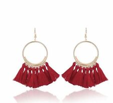 Gold Red Long Drop Tassel Fashion Earring Boho Festival Party Boutique Uk