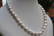 BR11 51cm Süßwasser Perlen Schmuck Perlenkette Halskette 11x14mm Collier barock