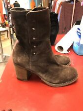 FIORENTINI + BAKER Ankle Boots Euro 37 US 7 Brown Suede Booties Studded Side