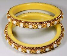 Deep Flower Yellow Bangle Girl Woman A08 02 Pcs 82mm. Zircon Cut Handmade Glass