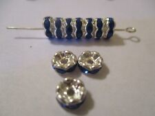 100 Silver Plated 7 mm Blue Crystal  Spacer Beads   SBB2