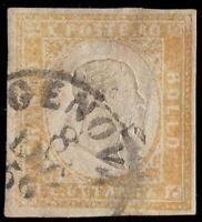 STATI ITALIANI SARDEGNA 1858 80 C. OCRA ARANCIO SASSONE 1000 € GENOVA 8 LUG 59